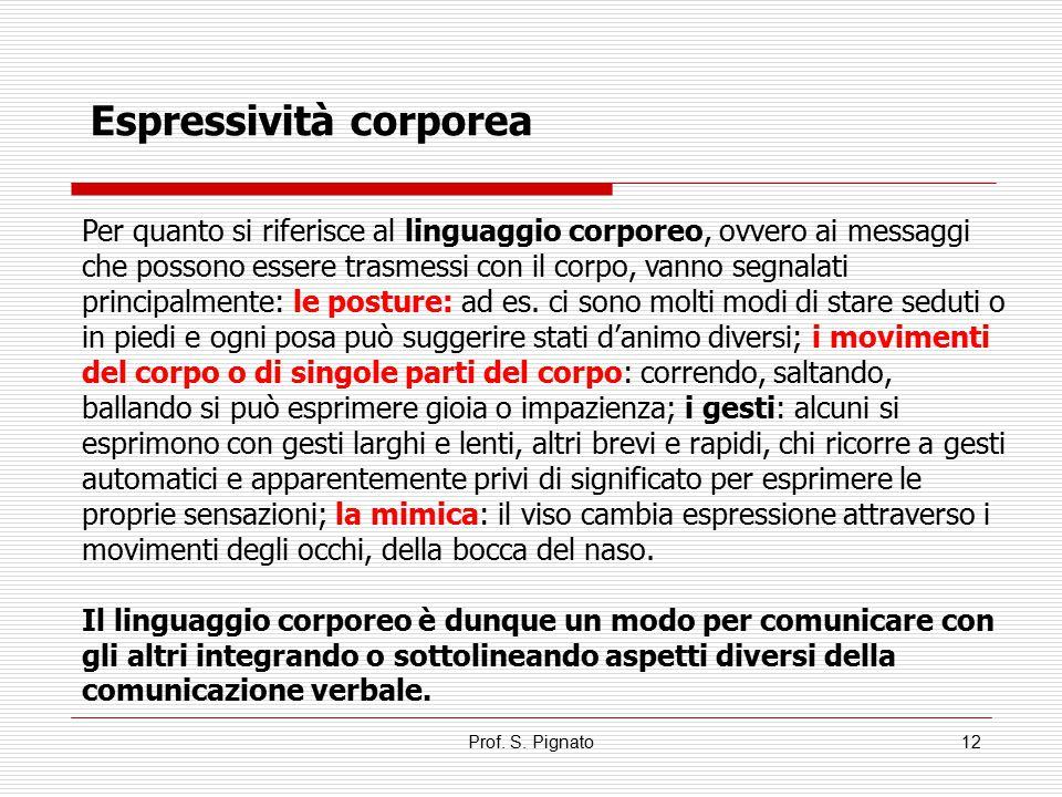 Prof. S. Pignato12 Per quanto si riferisce al linguaggio corporeo, ovvero ai messaggi che possono essere trasmessi con il corpo, vanno segnalati princ