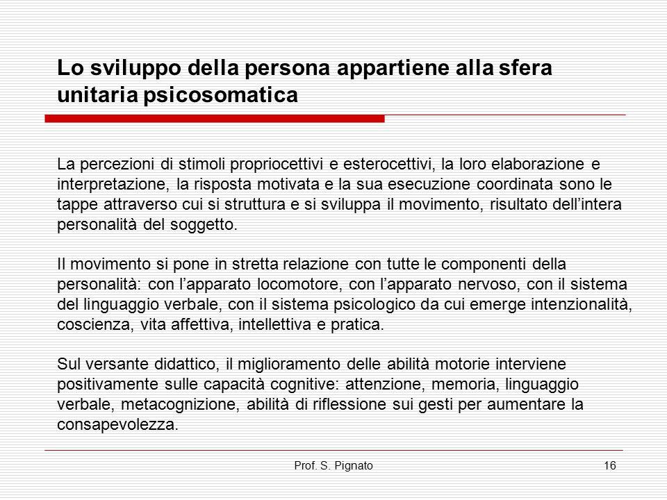 Prof. S. Pignato16 La percezioni di stimoli propriocettivi e esterocettivi, la loro elaborazione e interpretazione, la risposta motivata e la sua esec