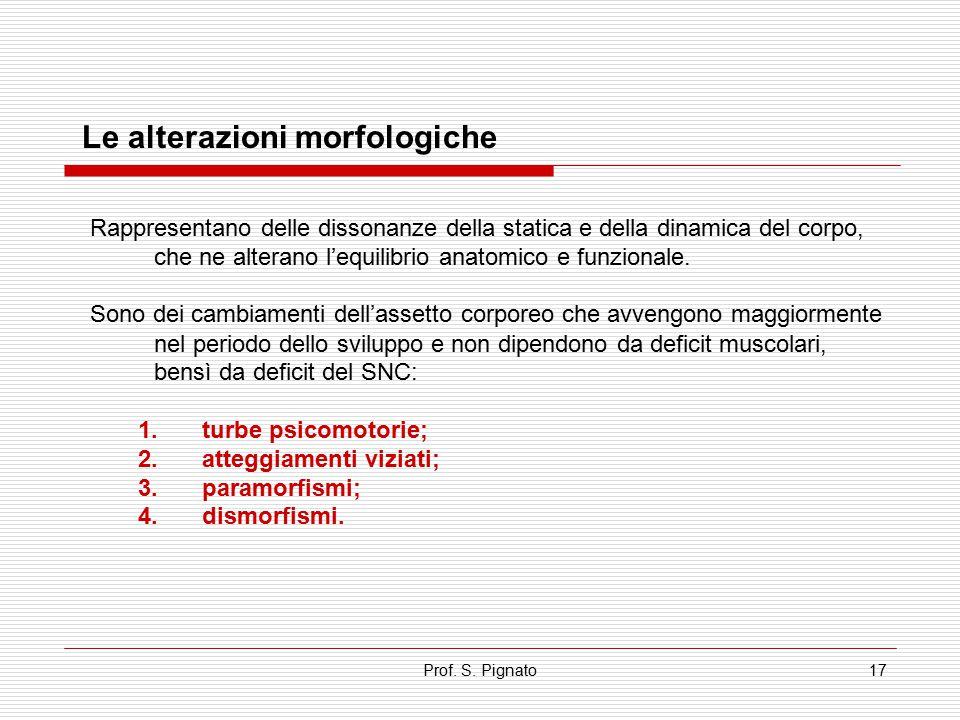 Prof. S. Pignato17 Le alterazioni morfologiche Rappresentano delle dissonanze della statica e della dinamica del corpo, che ne alterano l'equilibrio a