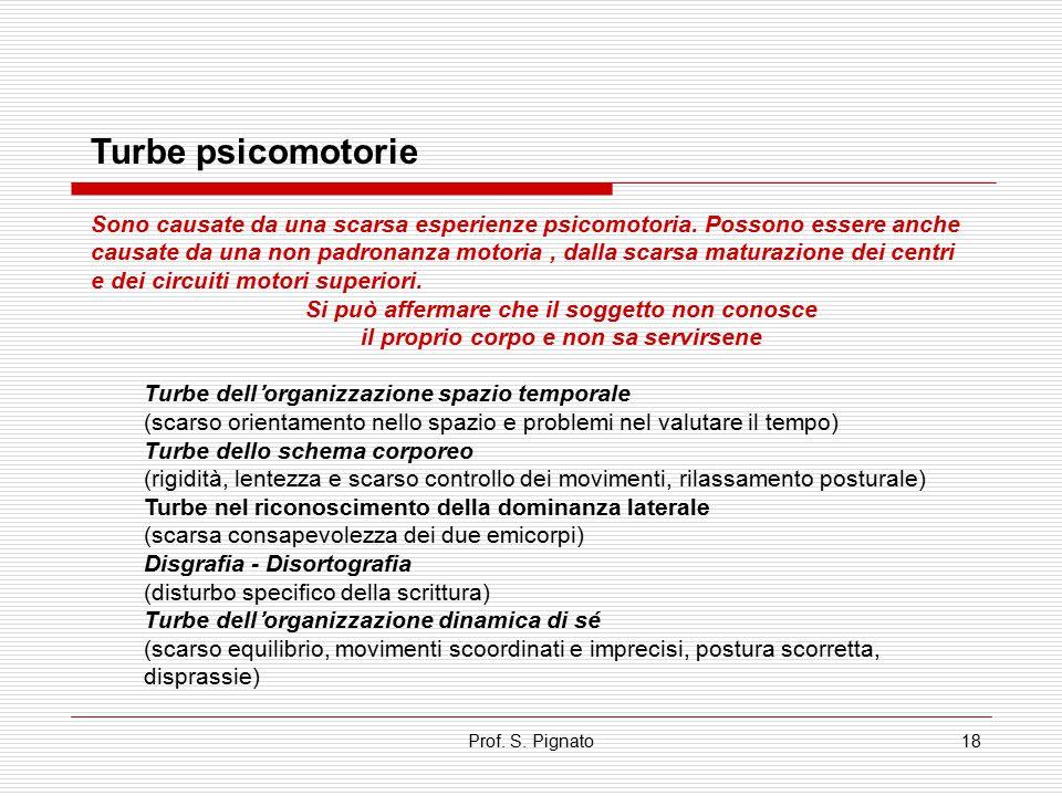 Prof. S. Pignato18 Turbe psicomotorie Sono causate da una scarsa esperienze psicomotoria. Possono essere anche causate da una non padronanza motoria,
