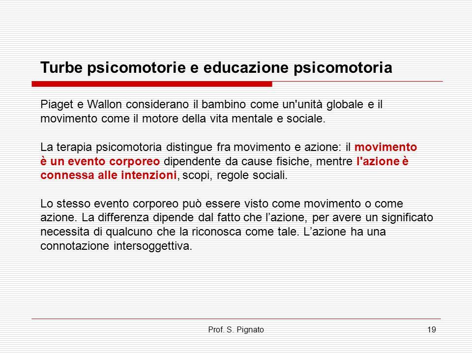 Prof. S. Pignato19 Turbe psicomotorie e educazione psicomotoria Piaget e Wallon considerano il bambino come un'unità globale e il movimento come il mo