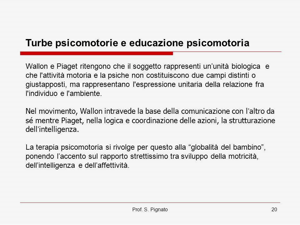 Prof. S. Pignato20 Turbe psicomotorie e educazione psicomotoria Wallon e Piaget ritengono che il soggetto rappresenti un'unità biologica e che l'attiv