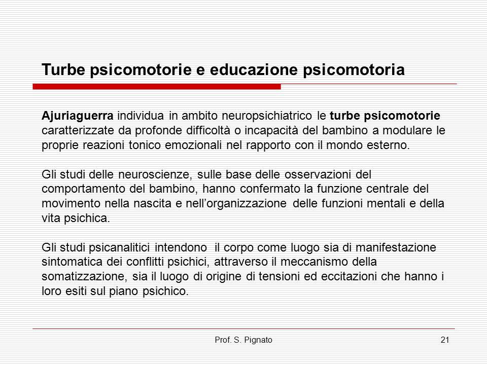 Prof. S. Pignato21 Turbe psicomotorie e educazione psicomotoria Ajuriaguerra individua in ambito neuropsichiatrico le turbe psicomotorie caratterizzat