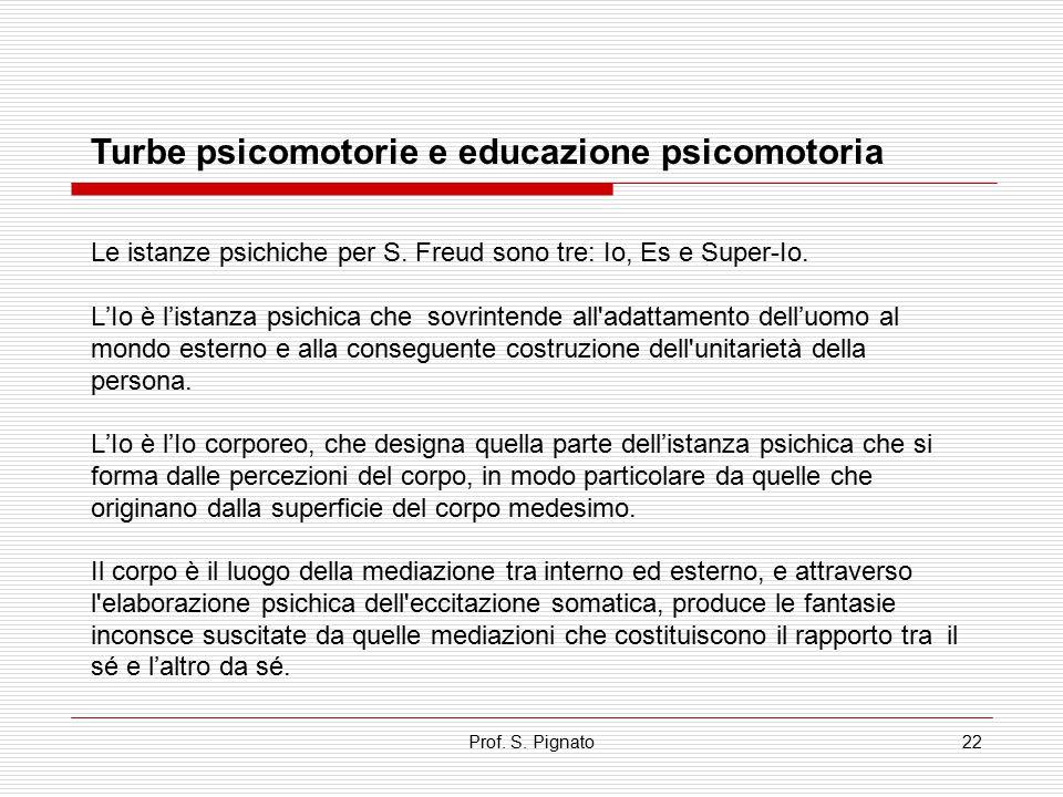 Prof. S. Pignato22 Turbe psicomotorie e educazione psicomotoria Le istanze psichiche per S. Freud sono tre: Io, Es e Super-Io. L'Io è l'istanza psichi