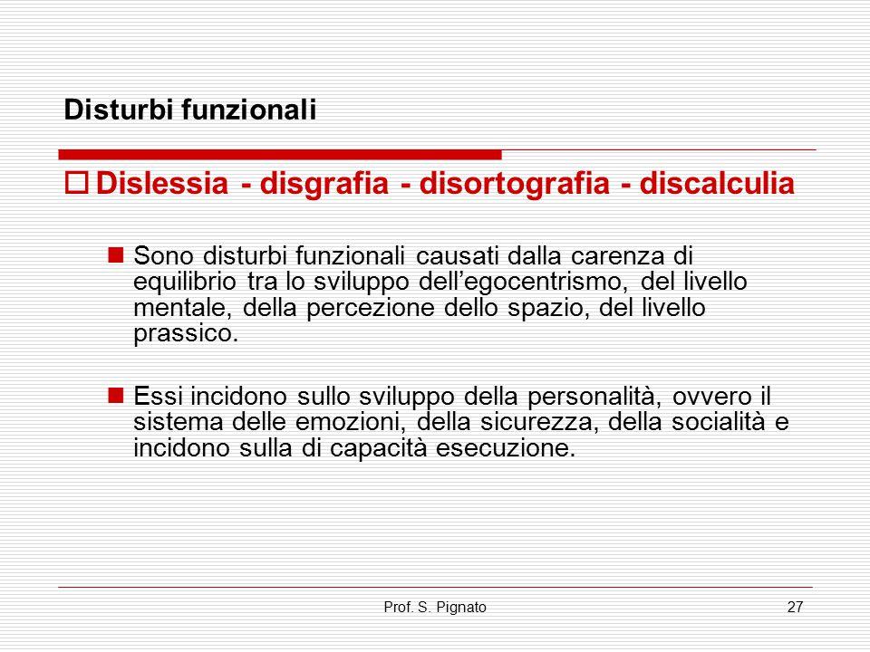 Prof. S. Pignato27  Dislessia - disgrafia - disortografia - discalculia Sono disturbi funzionali causati dalla carenza di equilibrio tra lo sviluppo
