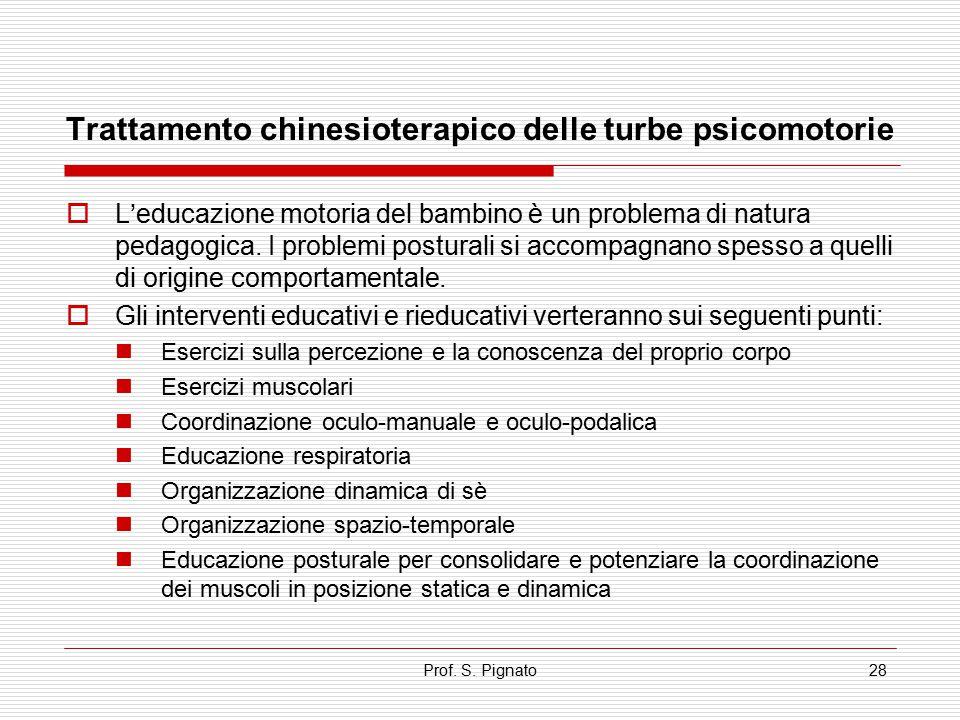 Prof. S. Pignato28 Trattamento chinesioterapico delle turbe psicomotorie  L'educazione motoria del bambino è un problema di natura pedagogica. I prob