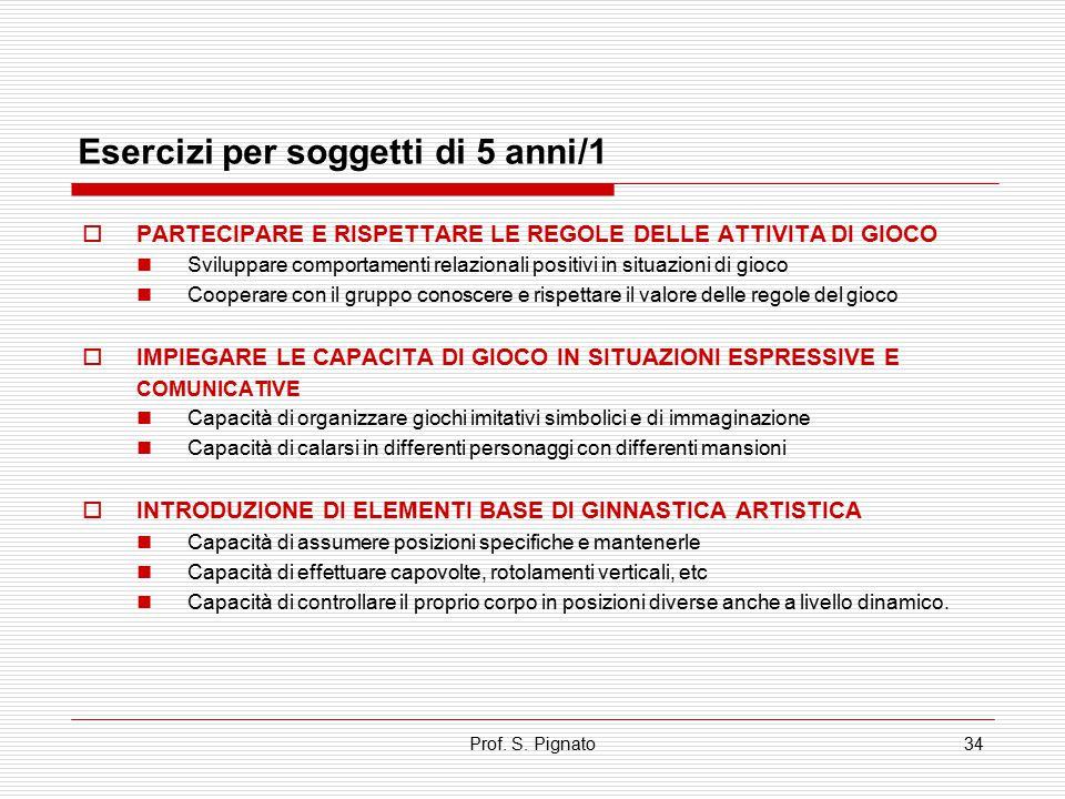 Prof. S. Pignato34 Esercizi per soggetti di 5 anni/1  PARTECIPARE E RISPETTARE LE REGOLE DELLE ATTIVITA DI GIOCO Sviluppare comportamenti relazionali