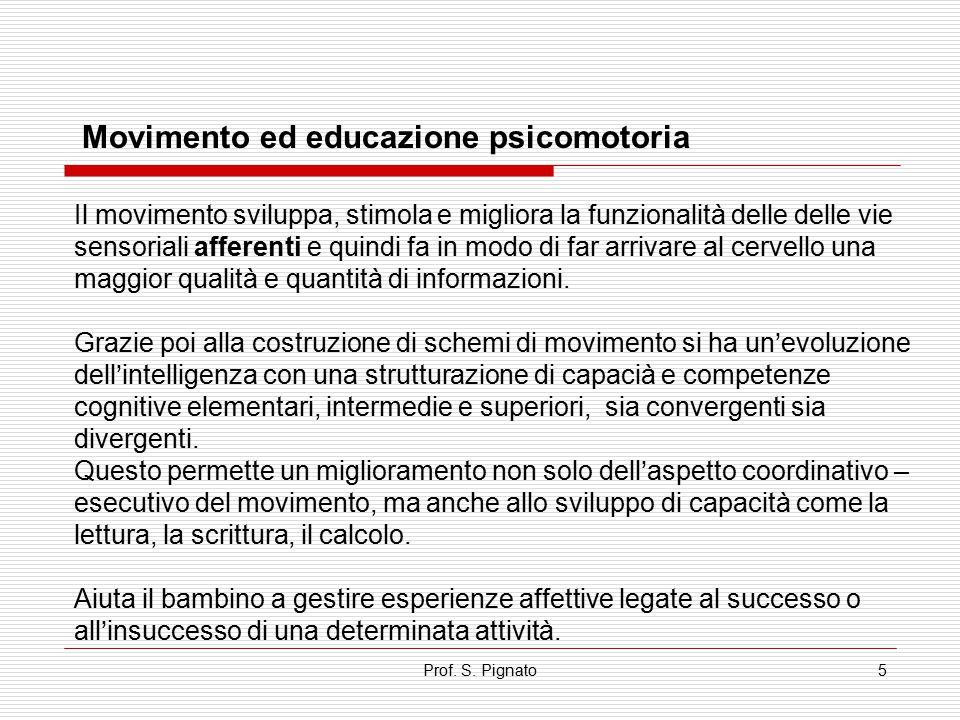 Prof. S. Pignato5 Movimento ed educazione psicomotoria Il movimento sviluppa, stimola e migliora la funzionalità delle delle vie sensoriali afferenti