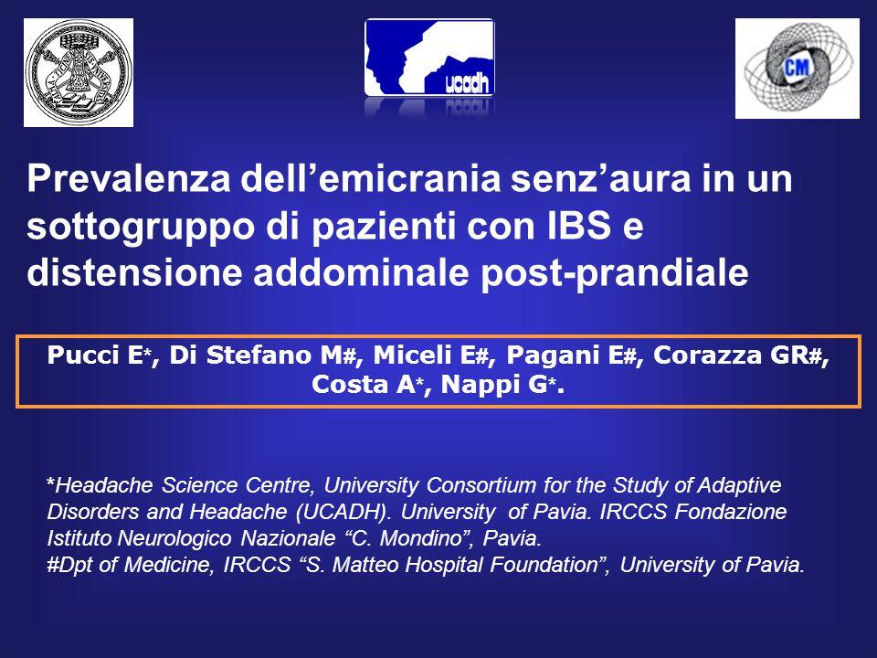 Pucci E *, Di Stefano M #, Miceli E #, Pagani E #, Corazza GR #, Costa A *, Nappi G *.
