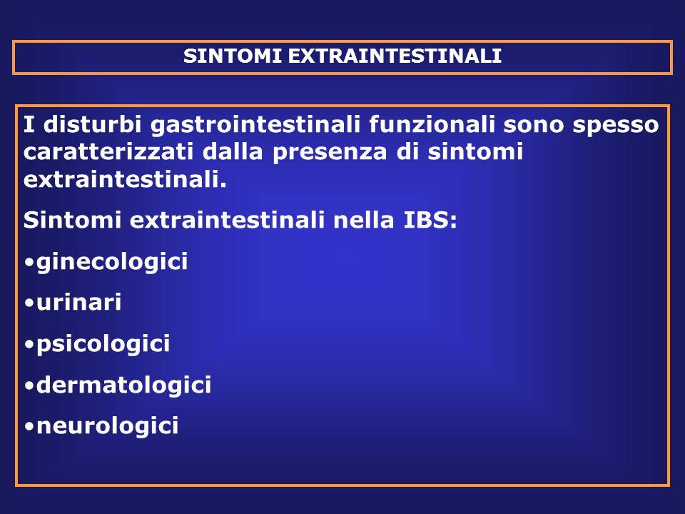 SINTOMI EXTRAINTESTINALI I disturbi gastrointestinali funzionali sono spesso caratterizzati dalla presenza di sintomi extraintestinali.