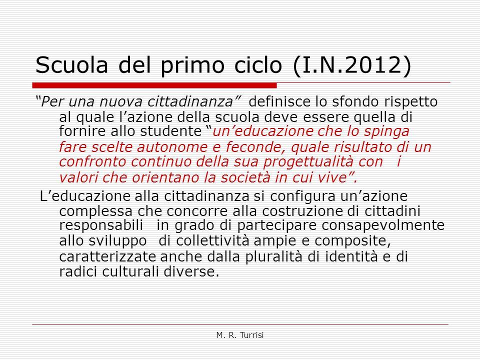 """M. R. Turrisi Scuola del primo ciclo (I.N.2012) """"Per una nuova cittadinanza"""" definisce lo sfondo rispetto al quale l'azione della scuola deve essere q"""