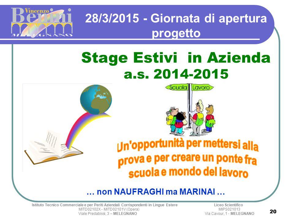20 28/3/2015 - Giornata di apertura progetto Stage Estivi in Azienda a.s.