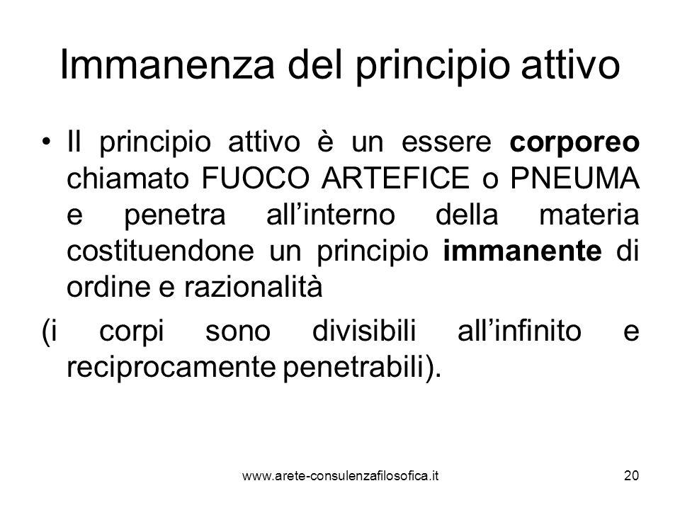 Immanenza del principio attivo Il principio attivo è un essere corporeo chiamato FUOCO ARTEFICE o PNEUMA e penetra all'interno della materia costituen