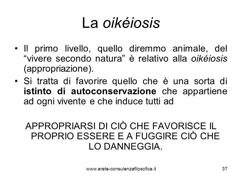"""La oikéiosis Il primo livello, quello diremmo animale, del """"vivere secondo natura"""" è relativo alla oikéiosis (appropriazione). Si tratta di favorire q"""