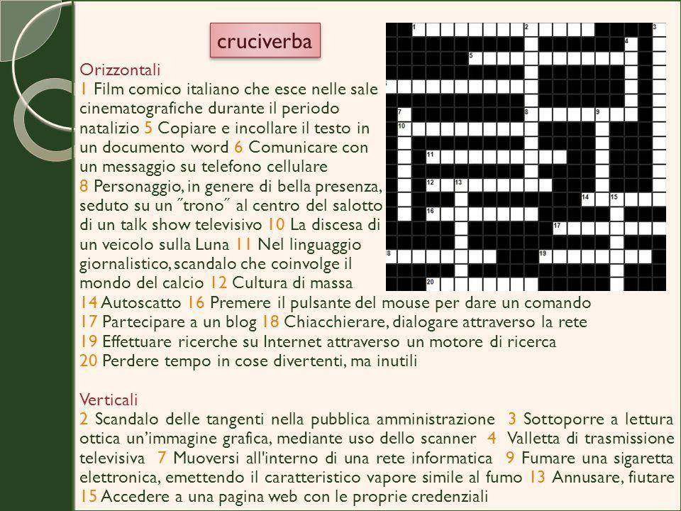 Orizzontali 1 Film comico italiano che esce nelle sale cinematografiche durante il periodo natalizio 5 Copiare e incollare il testo in un documento wo