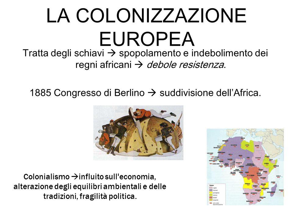 LA COLONIZZAZIONE EUROPEA Tratta degli schiavi  spopolamento e indebolimento dei regni africani  debole resistenza. 1885 Congresso di Berlino  sudd