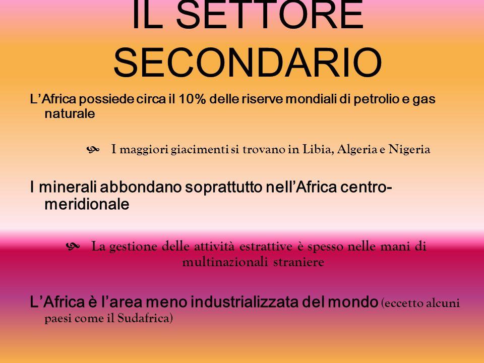 IL SETTORE SECONDARIO L'Africa possiede circa il 10% delle riserve mondiali di petrolio e gas naturale  I maggiori giacimenti si trovano in Libia, Al