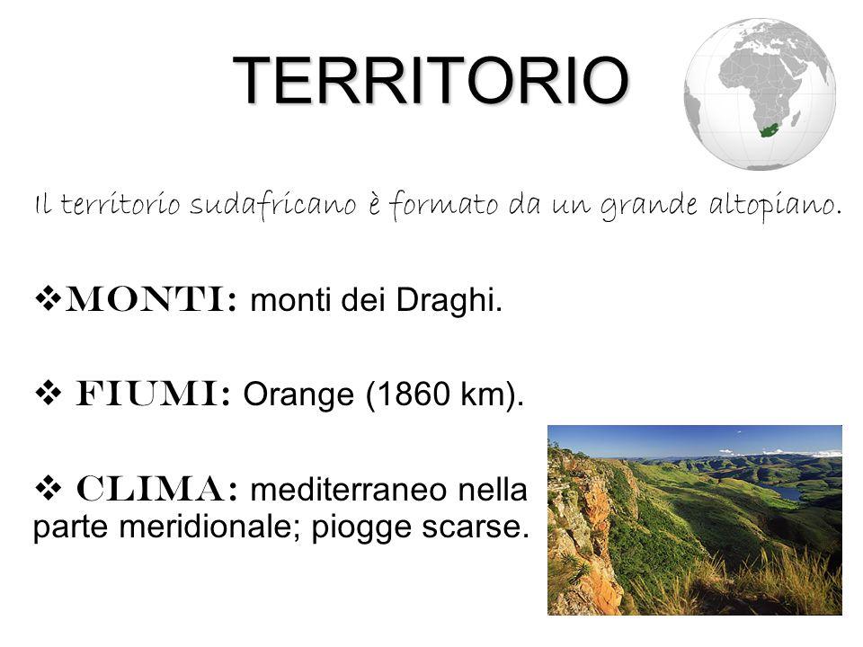 TERRITORIO  Monti: monti dei Draghi.  Fiumi: Orange (1860 km).  Clima: mediterraneo nella parte meridionale; piogge scarse. Il territorio sudafrica
