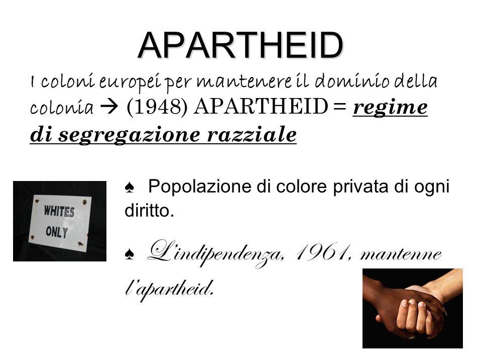 APARTHEID I coloni europei per mantenere il dominio della colonia  (1948) APARTHEID = regime di segregazione razziale ♠ P opolazione di colore privata di ogni diritto.
