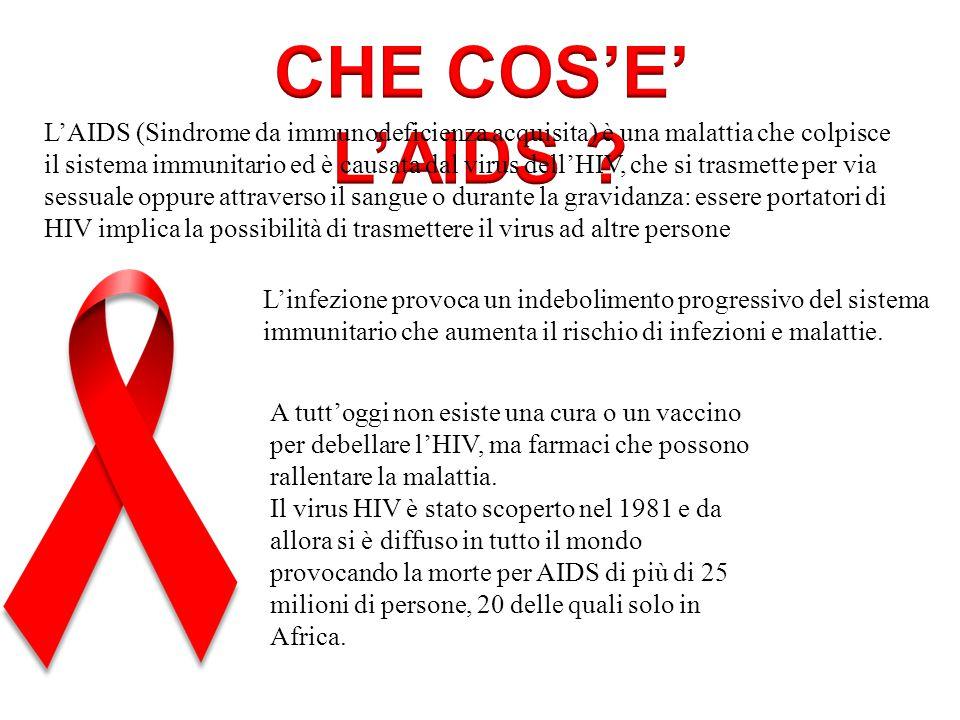L'AIDS (Sindrome da immunodeficienza acquisita) è una malattia che colpisce il sistema immunitario ed è causata dal virus dell'HIV, che si trasmette p