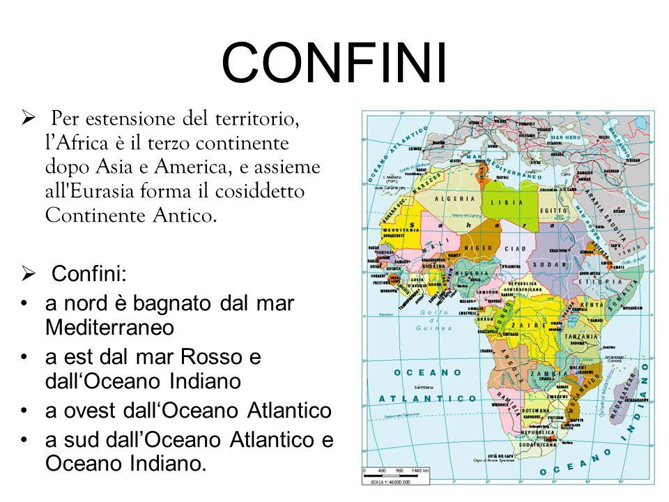 CONFINI  Per estensione del territorio, l'Africa è il terzo continente dopo Asia e America, e assieme all'Eurasia forma il cosiddetto Continente Anti
