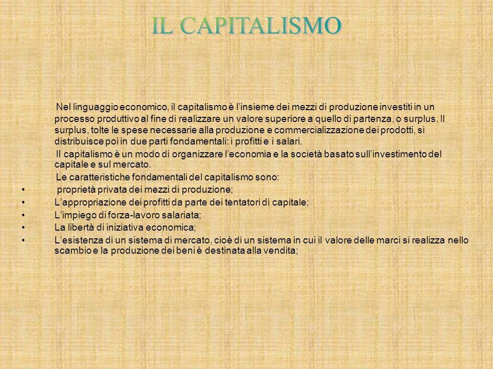 Nel linguaggio economico, il capitalismo è l'insieme dei mezzi di produzione investiti in un processo produttivo al fine di realizzare un valore superiore a quello di partenza, o surplus.