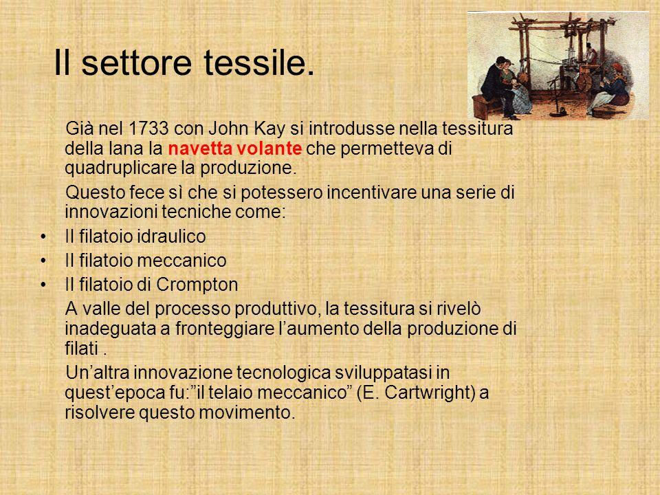Le fasi della rivoluzione industriale. 1760-90 Meccanizzazione della filatura del cotone 1790-30 Sviluppo della tessitura meccanica e della macchina a