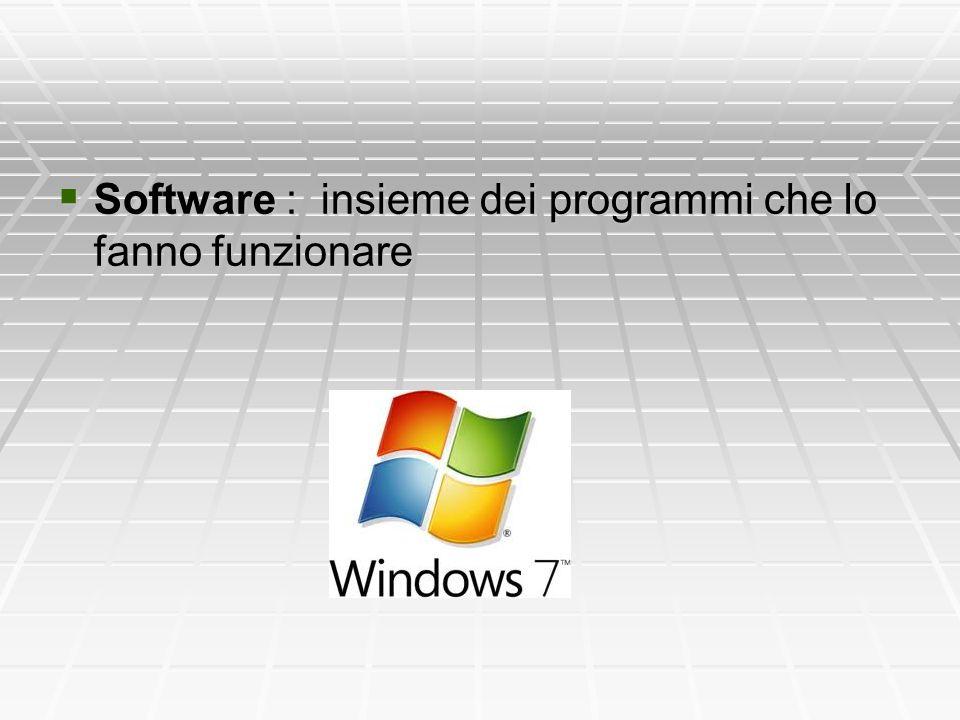  Software : insieme dei programmi che lo fanno funzionare