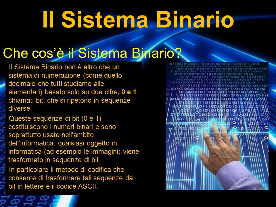 Il Sistema Binario Che cos'è il Sistema Binario? Il Sistema Binario non è altro che un sistema di numerazione (come quello decimale che tutti studiamo