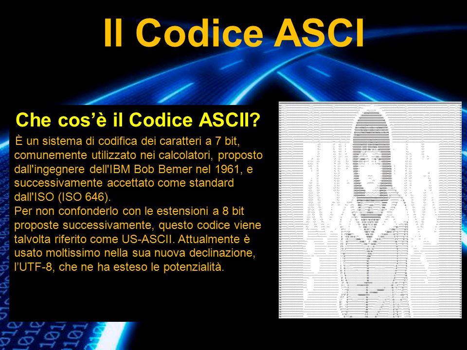 Che cos'è il Codice ASCII? È un sistema di codifica dei caratteri a 7 bit, comunemente utilizzato nei calcolatori, proposto dall'ingegnere dell'IBM Bo