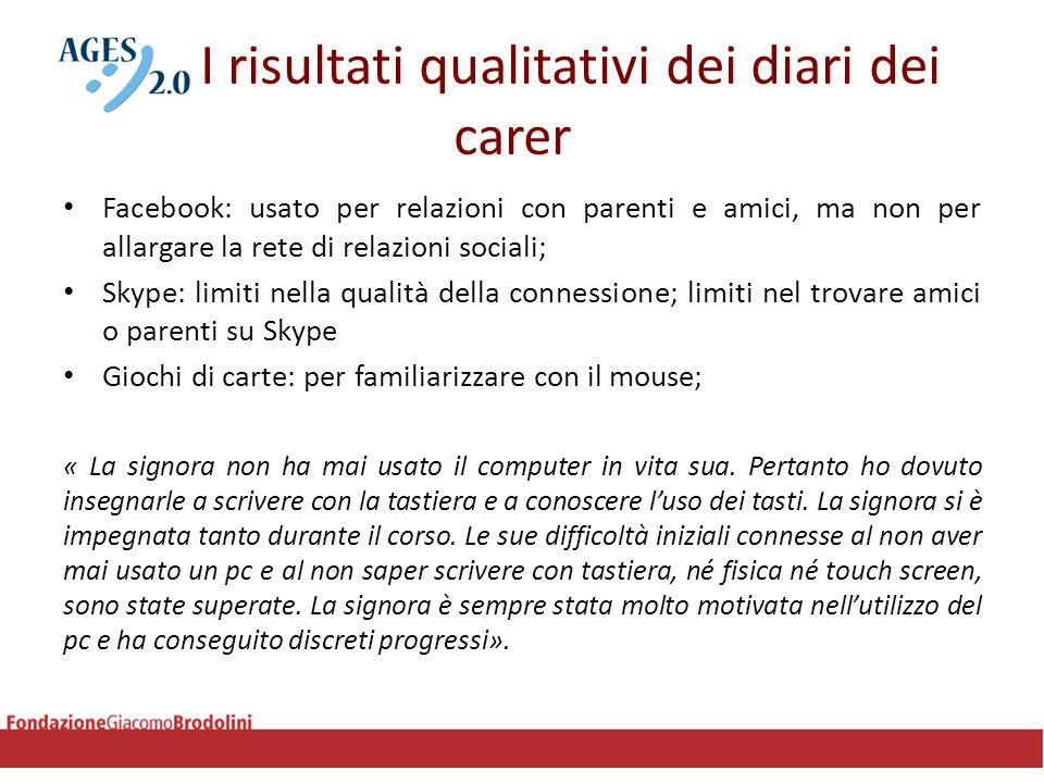 I risultati qualitativi dei diari dei carer Facebook: usato per relazioni con parenti e amici, ma non per allargare la rete di relazioni sociali; Skyp