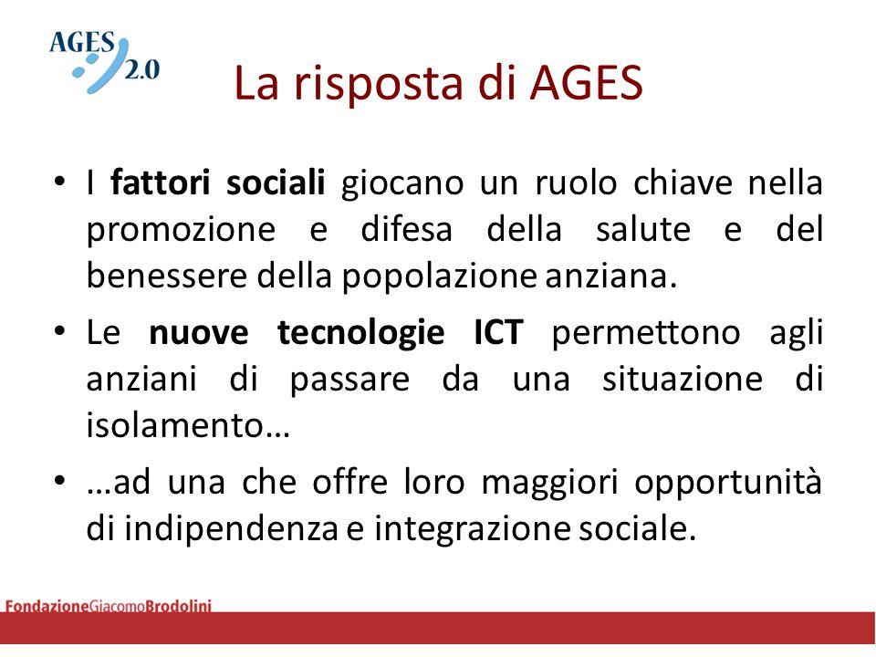 La risposta di AGES I fattori sociali giocano un ruolo chiave nella promozione e difesa della salute e del benessere della popolazione anziana. Le nuo