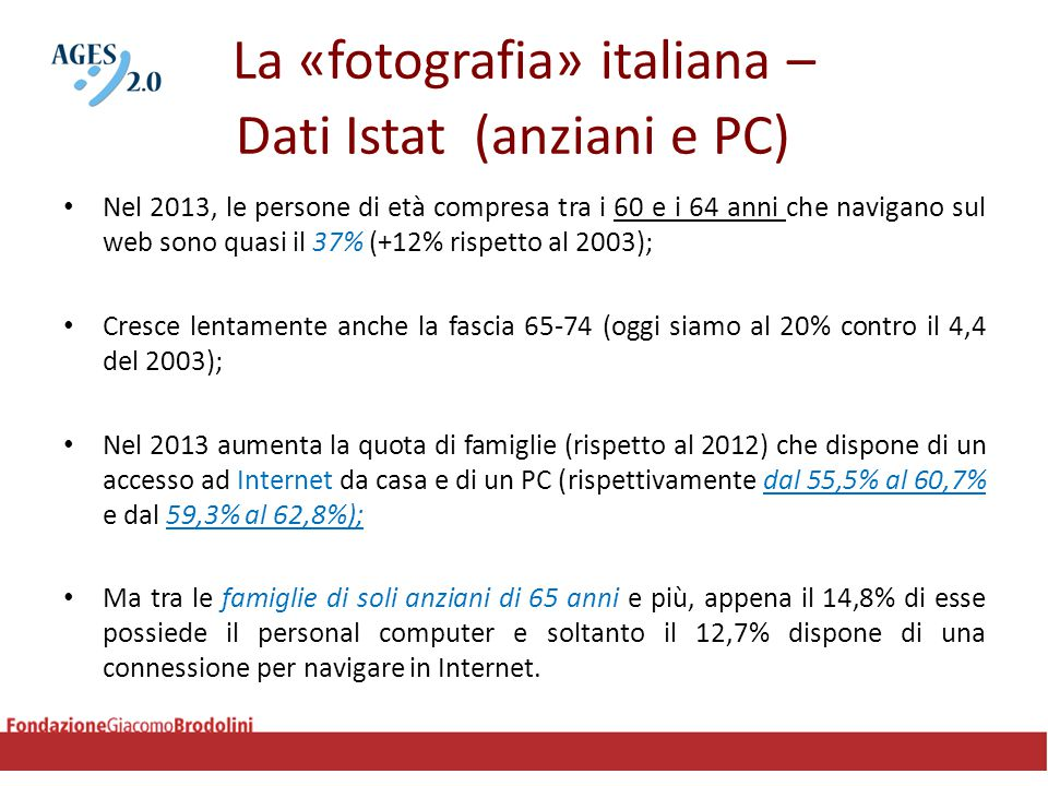 La «fotografia» italiana – Dati Istat (anziani e PC) Nel 2013, le persone di età compresa tra i 60 e i 64 anni che navigano sul web sono quasi il 37%