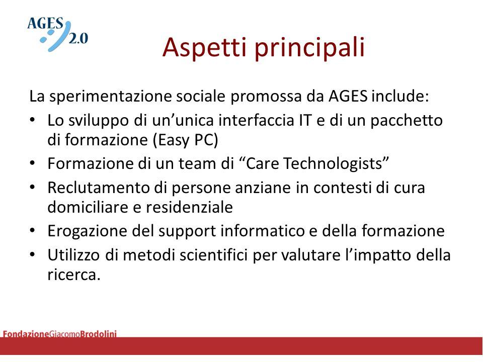 Aspetti principali La sperimentazione sociale promossa da AGES include: Lo sviluppo di un'unica interfaccia IT e di un pacchetto di formazione (Easy P