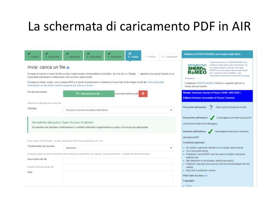 La schermata di caricamento PDF in AIR
