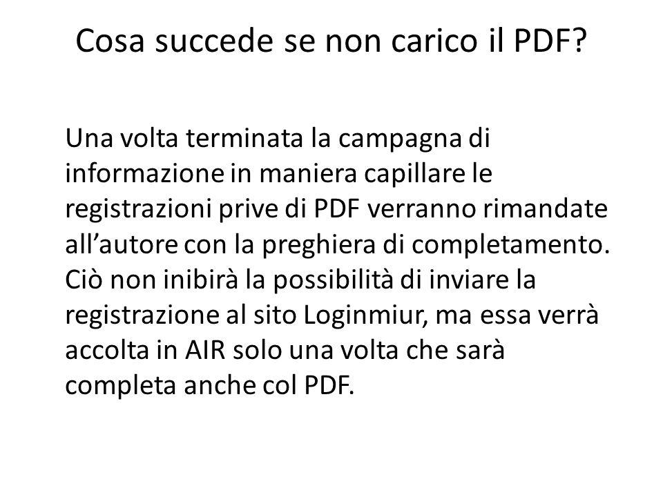 Cosa succede se non carico il PDF.