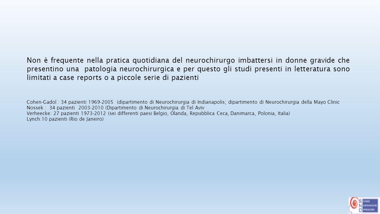 Se suddividiamo in gruppi le patologie neurochirurgiche di più frequente riscontro durante la gravidanza avremo: 1.Patologie tumorali con una incidenza riportata in letteratura che va da 3,6/1.000.000 e 3/100.000 2.Emorragie cerebrali dovute principalmente a MAV e ad aneurismi 0.01 e 0.05% di tutte le donne in gravidanza; il 77% di tutte le emorragie in gravidanza sono da aneurisma, il 23% da MAV; il rischio di rottura dell'aneurisma aumenta con l'età gestionale mentre questo non accade per la MAV.