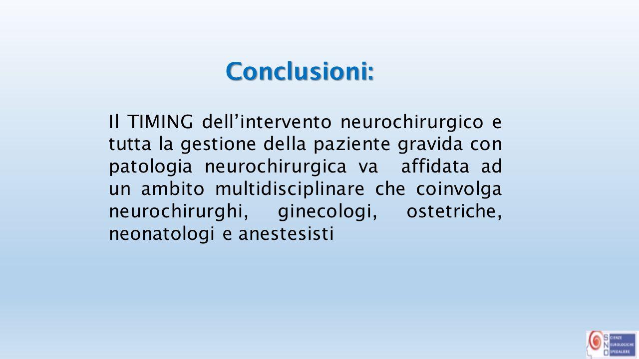 Il TIMING dell'intervento neurochirurgico e tutta la gestione della paziente gravida con patologia neurochirurgica va affidata ad un ambito multidisciplinare che coinvolga neurochirurghi, ginecologi, ostetriche, neonatologi e anestesisti Conclusioni: Conclusioni: