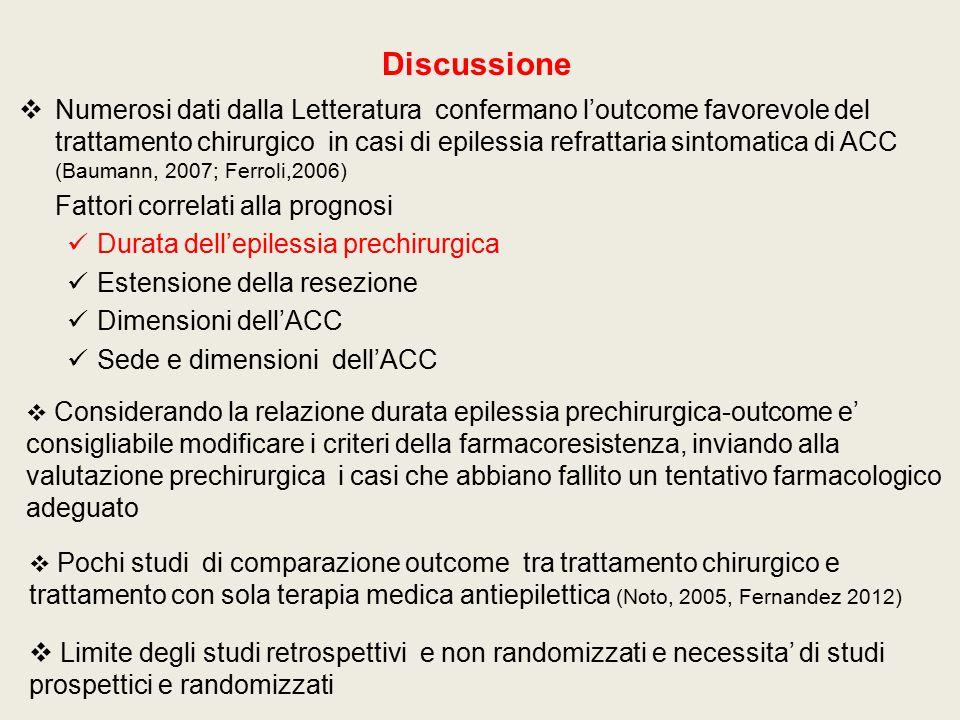 Discussione  Numerosi dati dalla Letteratura confermano l'outcome favorevole del trattamento chirurgico in casi di epilessia refrattaria sintomatica