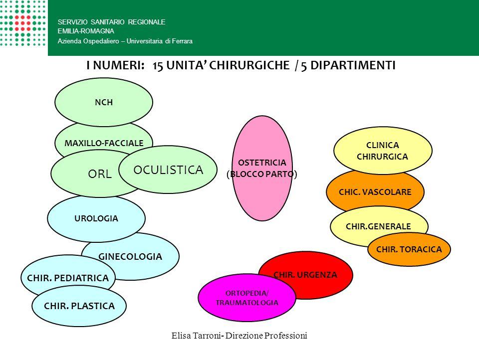 Elisa Tarroni- Direzione Professioni I NUMERI: 15 UNITA' CHIRURGICHE / 5 DIPARTIMENTI SERVIZIO SANITARIO REGIONALE EMILIA-ROMAGNA Azienda Ospedaliero – Universitaria di Ferrara MAXILLO-FACCIALE GINECOLOGIA CHIR.