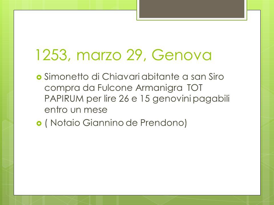 1253, marzo 29, Genova  Simonetto di Chiavari abitante a san Siro compra da Fulcone Armanigra TOT PAPIRUM per lire 26 e 15 genovini pagabili entro un mese  ( Notaio Giannino de Prendono)
