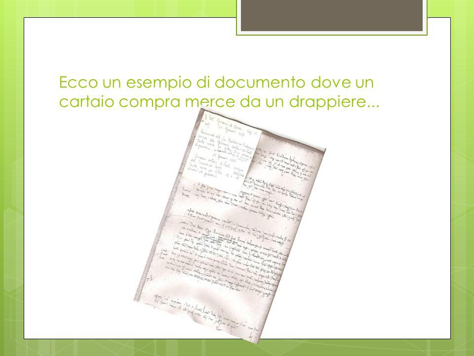 Ecco un esempio di documento dove un cartaio compra merce da un drappiere...