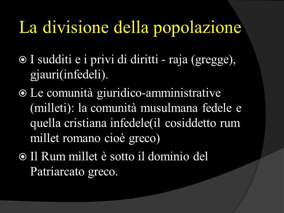 La divisione della popolazione  I sudditi e i privi di diritti - raja (gregge), gjauri(infedeli).  Le comunità giuridico-amministrative (milleti): l