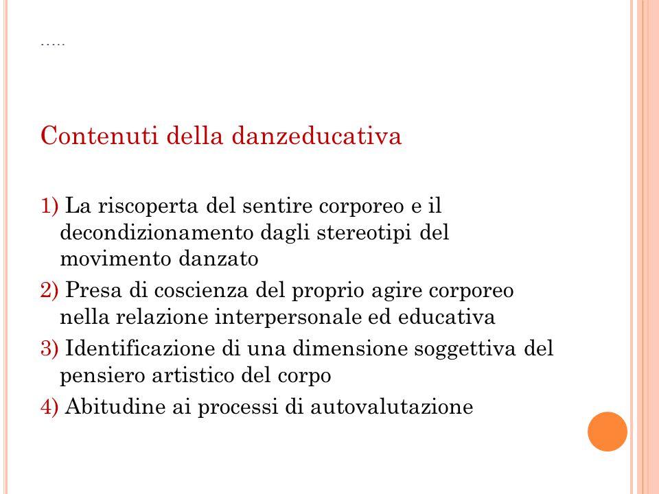 ….. Contenuti della danzeducativa 1) La riscoperta del sentire corporeo e il decondizionamento dagli stereotipi del movimento danzato 2) Presa di cosc