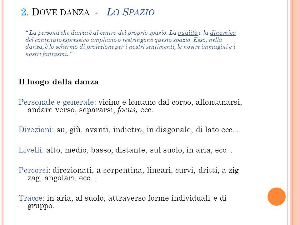 2. D OVE DANZA - L O S PAZIO Il luogo della danza Personale e generale: vicino e lontano dal corpo, allontanarsi, andare verso, separarsi, focus, ecc.
