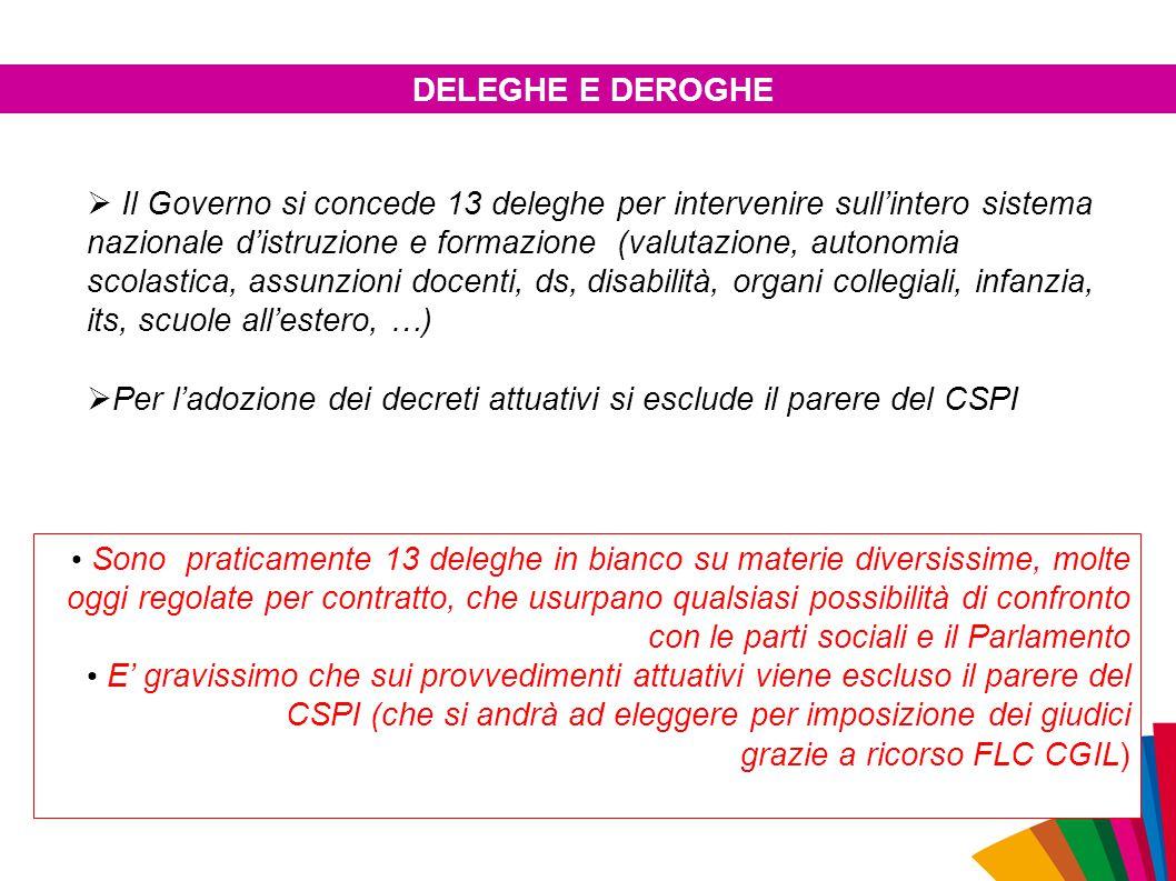  Il Governo si concede 13 deleghe per intervenire sull'intero sistema nazionale d'istruzione e formazione (valutazione, autonomia scolastica, assunzi