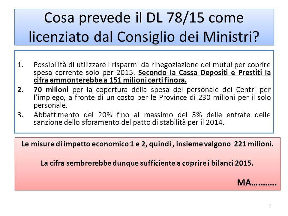 Cosa prevede il DL 78/15 come licenziato dal Consiglio dei Ministri.