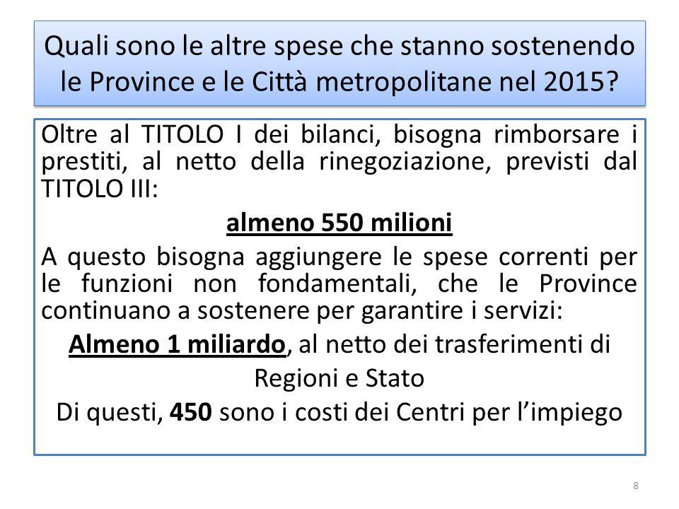 Quali sono le altre spese che stanno sostenendo le Province e le Città metropolitane nel 2015.
