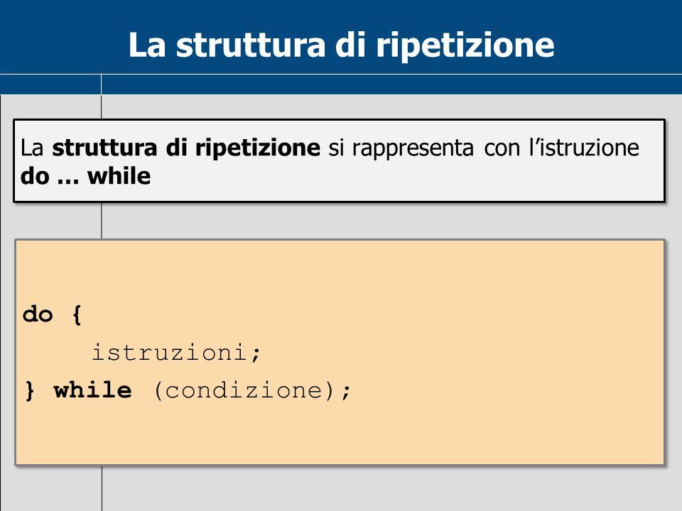 La struttura di ripetizione La struttura di ripetizione si rappresenta con l'istruzione do … while do { istruzioni; } while (condizione); do { istruzi