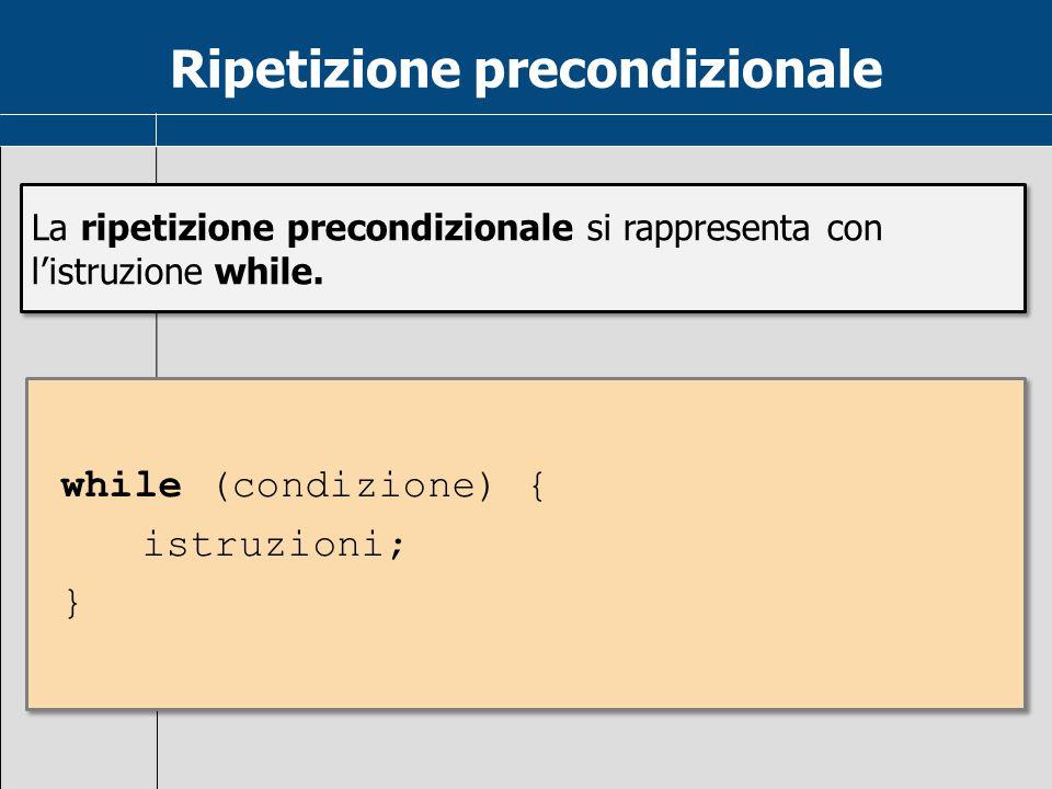 Ripetizione precondizionale La ripetizione precondizionale si rappresenta con l'istruzione while. while (condizione) { istruzioni; } while (condizione